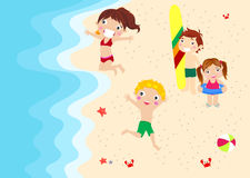 Boys and girls. Illustration of boys and girls on beach Royalty Free Stock Photo