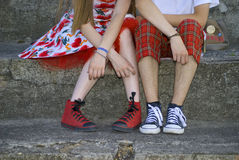 Boys and girls. In sports shoes Stock Photo