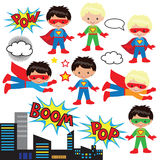 Boys and girls as superheroes. Colorful illustrations of boys and girls dressed in the style of superman with a red cloak, flying around in mid-air and with Stock Illustration