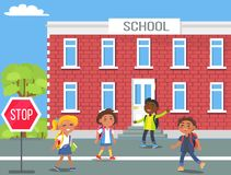 Children in Front of School Cartoon Illustration Stock Photos