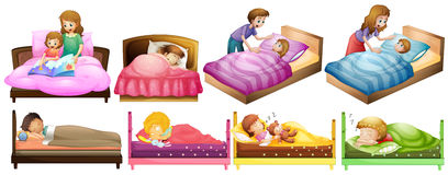 Boys and girls in bed Royalty Free Stock Image