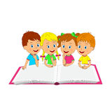 Boys and girls with book Royalty Free Stock Photo