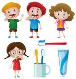 Boys and girls brushing teeth Royalty Free Stock Photography