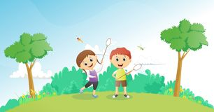 Boys and girls catching dragonflies Stock Photo
