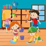 Boys and girls cleaning room together Royalty Free Stock Photography