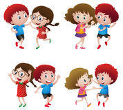 Boys and girls dancing in couple. Illustration Stock Photos
