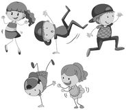 Boys and girls dancing. Illustration Stock Images