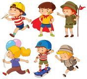 Boys  and girls in different actions. Illustration Stock Image