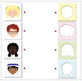 Boys and girls of different nationalities. Educational game for Royalty Free Stock Images