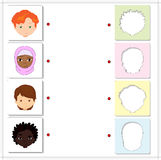 Boys and girls of different nationalities. Educational game for. Kids. Choose the correct silhouettes on the opposite side and connect the points Royalty Free Stock Photo