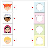 Boys and girls of different nationalities. Educational game for. Kids. Choose the correct silhouettes on the opposite side and connect the points Stock Image