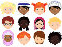 Boys and girls of different nationalities. Multinational children. Kids faces of different cultures vector illustration