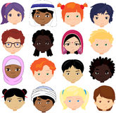 Boys and girls of different nationalities. Multinational childre Royalty Free Stock Images