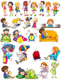 Boys and girls doing activities Stock Images