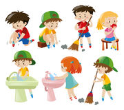 Boys and girls doing different activities stock illustration