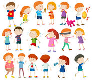 Boys and girls doing different activities Stock Image