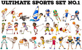 Boys and girls doing different sports Royalty Free Stock Images