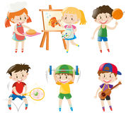 Boys and girls doing different things Royalty Free Stock Image