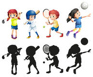 Boys and girls doing sports. Illustration Royalty Free Stock Images