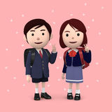 Boys and girls in elementary school entrance ceremony Cherry blossoms background Pink. 3D illustration Stock Photos