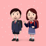 Boys and girls in elementary school entrance ceremony Cherry blossoms background Pink. 3D illustration. Happiness lifestyle people, 3D illustration Stock Photos