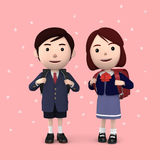 Boys and girls in elementary school entrance ceremony Cherry blossoms background Pink. 3D illustration. Happiness lifestyle people, 3D illustration Royalty Free Stock Photo