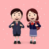 Boys and girls in elementary school entrance ceremony Cherry blossoms background Pink. 3D illustration. Happiness lifestyle people, 3D illustration Royalty Free Stock Images