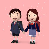 Boys and girls in elementary school entrance ceremony Cherry blossoms background Pink. 3D illustration. Happiness lifestyle people, 3D illustration Royalty Free Stock Image