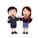 Boys and girls in elementary school entrance ceremony on white background . 3D illustration. Happiness lifestyle people, 3D illustration Royalty Free Stock Image