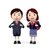 Boys and girls in elementary school entrance ceremony on white background . 3D illustration Royalty Free Stock Photo
