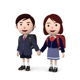 Boys and girls in elementary school entrance ceremony on white background . 3D illustration Stock Photo