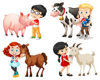 Boys and girls with farm animals Stock Image