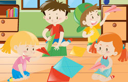 Boys and girls folding paper in room. Illustration Royalty Free Stock Photo