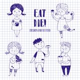 Boys and girls with food on notebook paper. Fat funny kids drawn with a pen or stylus. Sausage, ice cream, lemonade and other fast food Stock Image