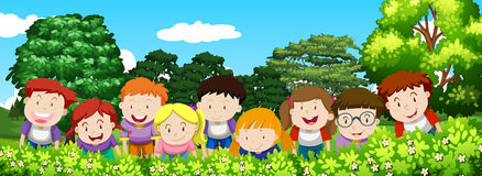 Boys and girls in the garden at daytime. Illustration Royalty Free Stock Image