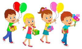 Boys and girls go with gifts and balloons. Birthday,boys and girls go with gifts and balloons, illustration, vector Royalty Free Stock Image
