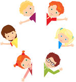 Boys and girls greeting you waving their hands. Vector illustration Royalty Free Stock Image
