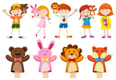 Boys and girls with hand puppets Royalty Free Stock Image