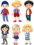 Boys and girls with happy face. Illustration Stock Photo