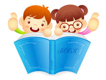 Boys and girls are holding a big book. Education and life Charac Stock Photo