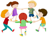 Boys and girls holding hands in circle Royalty Free Stock Photo