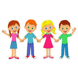 Boys and girls holding hands and smiling Stock Images