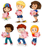 Boys and girls holding piggy bank Stock Photography