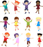 Boys and girls jump, laugh and dance together. Caucasian, african, chinese, japanese and other multinational boys and girls jump, laugh and dance together Royalty Free Stock Photo