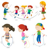 Boys and girls jumping rope. Illustration Stock Photo