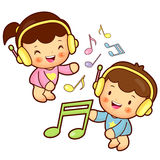 Boys and girls listening to music Stock Photography