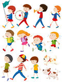 Boys and girls in many actions Stock Images
