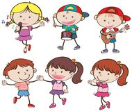 Boys and Girls Musician and Dance. Illustration Stock Images
