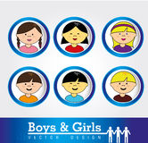Boys and girls. Over white background vector illustration Stock Photo