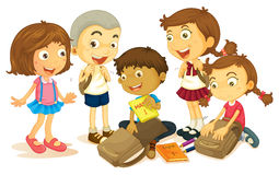 Boys and girls packing schoolbag Royalty Free Stock Photos
